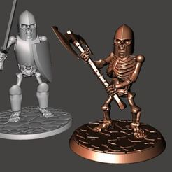 Download free 3D printer designs 28mm Dwarf Skeleton Warrior with Two Handed Axe, BigMrTong