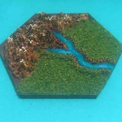 Impresiones 3D gratis Wargaming Hex Tiles / Mighty Empires - River Highland End Tiles Set, BigMrTong