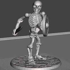 Download free 3D printing files 28mm Skeleton Warrior with Short Sword and Shield, BigMrTong