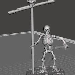 Descargar modelo 3D gratis 28mm Esqueleto Guerrero con Estándar y Espada, BigMrTong