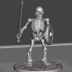 Download free 3D printing files 28mm Skeleton Warrior with Sword and Shield, BigMrTong