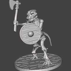Download free 3D printing templates Skeleton Warrior Beastman Dog/Hound - Axe, BigMrTong
