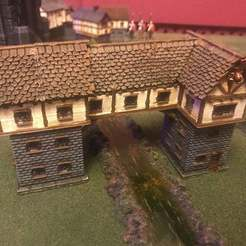 Download free 3D printing templates Fantasy Wargames House / Building over River 15mm, BigMrTong
