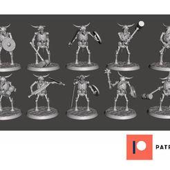 Descargar archivos STL gratis Esqueleto de Guerreros Beastman - Peleadores de Toros Melee, BigMrTong