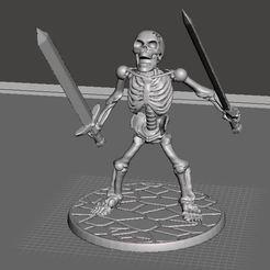 Descargar modelo 3D gratis 28mm Esqueleto Guerrero Berserk con Espadas Akimbo, BigMrTong