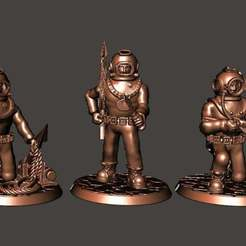 Download free STL file 28mm Sci Fi Deep Sea Diver with Harpoon Gun & Knife, BigMrTong