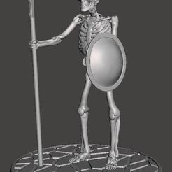 Impresiones 3D gratis Niños del esqueleto de Hydra con lanza - 28mm Miniatura, BigMrTong