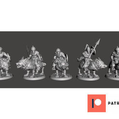 00de9922f3e05024de0267c5f41db495_display_large.jpg Download free STL file 28mm - Orc / Goblin / Hobgoblin Wolf Rider Cavalry Squad pt2 • 3D printer design, BigMrTong