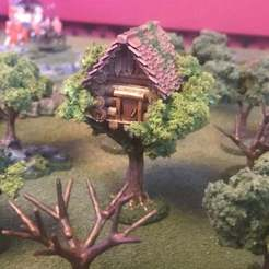 Download free 3D printer designs Tree House, Wargames tree Building Feature Terrain - 15mm, BigMrTong