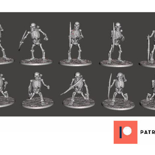 Descargar STL gratis Esqueleto de Guerreros con Arco Largo x 10 Poses, BigMrTong