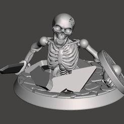 Descargar archivos STL gratis 28mm Guerrero Esqueleto No Muerto - Saliendo de la tierra, BigMrTong