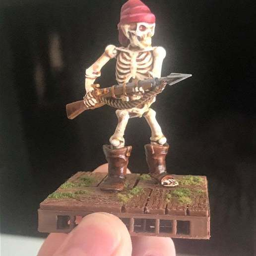 Download free STL file 28mm Pirate Skeleton Warrior with Harpoon Gun, BigMrTong