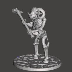 Download free 3D printer designs Skeleton Warrior Beastman Ram/Sheep - Warhammer, BigMrTong