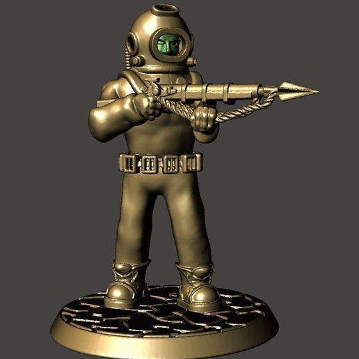 Télécharger fichier impression 3D gratuit Plongeur 28mm Sci Fi Deep Sea Diver avec Harpoon Gun, BigMrTong