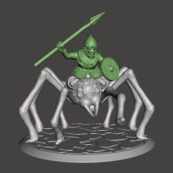 Descargar diseños 3D gratis 28mm - Orco / Duende / Hobgoblin Montar la araña gigante, BigMrTong