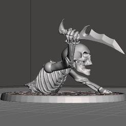 Descargar Modelos 3D para imprimir gratis Esqueleto de guerrero de 28mm dañado con una daga, BigMrTong