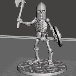 Download free 3D printer designs 28mm Skeleton Warrior with Axe and Shield, BigMrTong