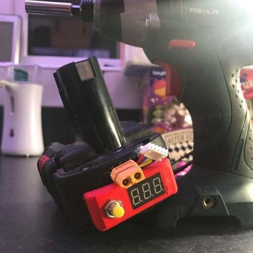 Download free 3D printing files Bosch Drill NiCad to LiPo Battery Voltage Check Fascia, BigMrTong