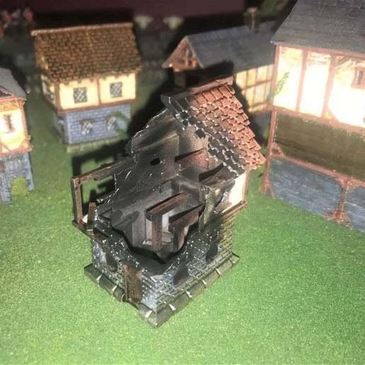 Descargar modelo 3D gratis Fantasy Wargames House / Edificio quemado 15mm, BigMrTong