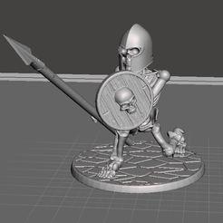 Descargar modelos 3D gratis 28mm Esqueleto Guerrero con lanza y escudo 2, BigMrTong