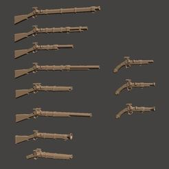Download free 3D printing files 28mm Fantasy Arsenal of Muskets Percussion / Flintlock Firearms and Guns, BigMrTong