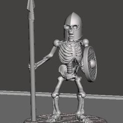 Download free 3D print files 28mm Skeleton Warrior with Spear and Shield, BigMrTong