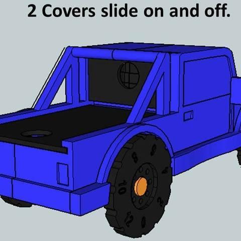 Truck3_display_large.jpg Download free STL file Rolling Ruler / Truck Pencil Case - #backtoschool • 3D print model, Dournard
