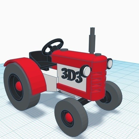 Free STL files Remake of Tractor design found in tinkercad, Aakaar_Lab