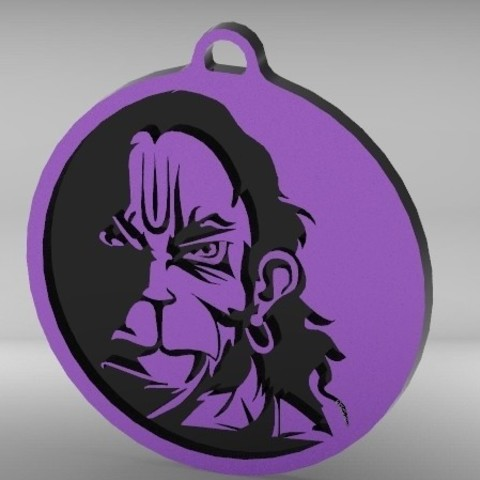 Download free 3D printing designs Indian god Hanuman Key chain, Aakaar_Lab