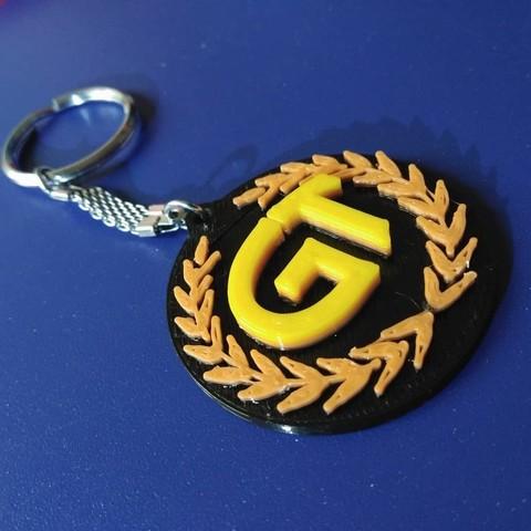 Free 3D printer designs royral enfield continental GT key chain logo, Aakaar_Lab