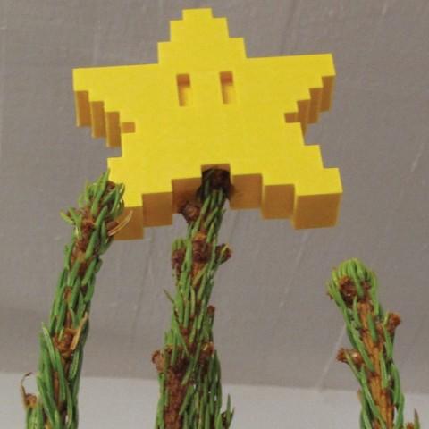 Free 3D print files Pixel tree topper star, Durbarod