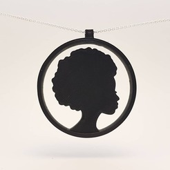 Download 3D printer files Afro Girl pendant, eugenedossantos