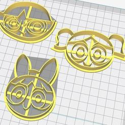 chicas superpoderosas.JPG Download STL file Super Powerpuff Girls, Cookie Cutters The Powerpuff Girls • Template to 3D print, porahi3d