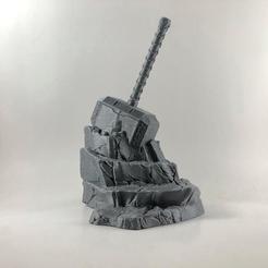 Imprimir en 3D Mjolnir in Rock | Mjolnir en piedra, MA-DisenosCreativos