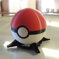 Free 3D printer model Pokeball (with button-release lid), Bolrod