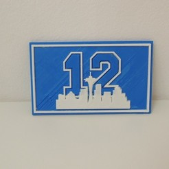 Download free 3D printer designs Seattle 12th Man Plaque, Bolrod