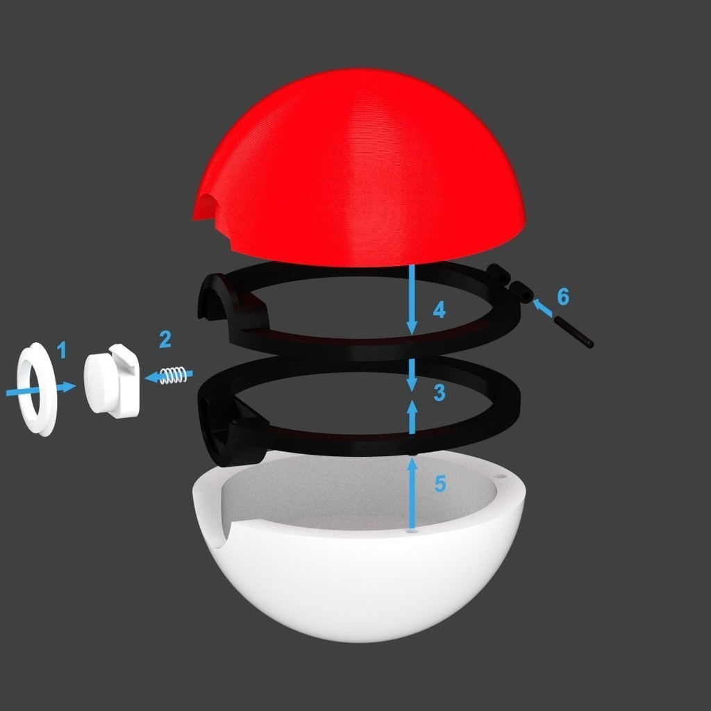 Pokeball_display_large.jpg Download free STL file Pokeball (with button-release lid) • Template to 3D print, Bolrod