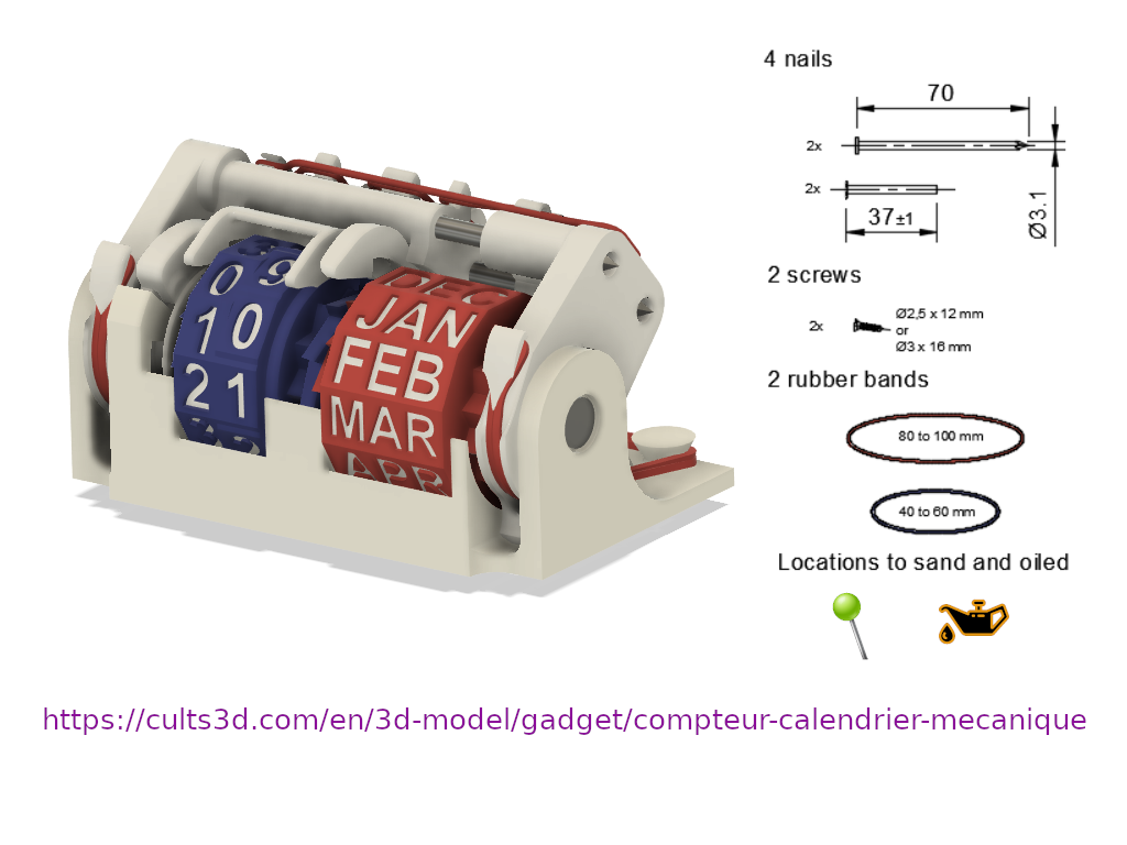 CompteurCalendrierRedesign2 v116 Assembly.png Download STL file Perpetual calendar mechanical meter • 3D printable object, uhgues