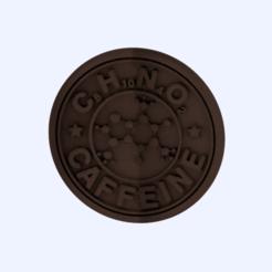caffeine.png Download free STL file Caffeine molecule drinkcoaster • 3D printing template, IdeaLab
