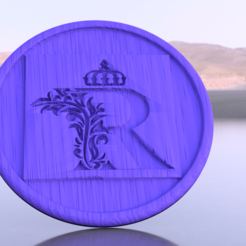 Free STL Coaster letter 'R', IdeaLab