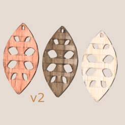 art leaf v2 final.png Download free STL file Earrings 'leaf art v2' • Model to 3D print, IdeaLab