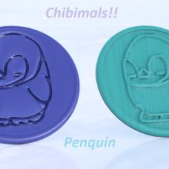 Download free 3D model  Penquin chibimals coaster (pair), IdeaLab