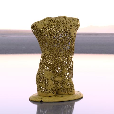 Male torso voronoi diagram.png Télécharger fichier STL gratuit Torse masculin Voronoi • Design pour imprimante 3D, IdeaLab