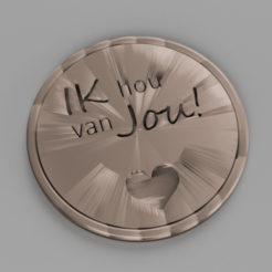 Download free STL Ik hou van jou! drinkcoaster pair, IdeaLab