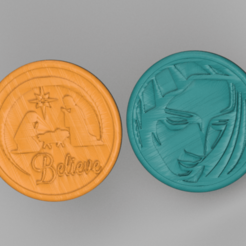 believe.png Download free STL file Drinkcoasters set ' Christ' • Object to 3D print, IdeaLab