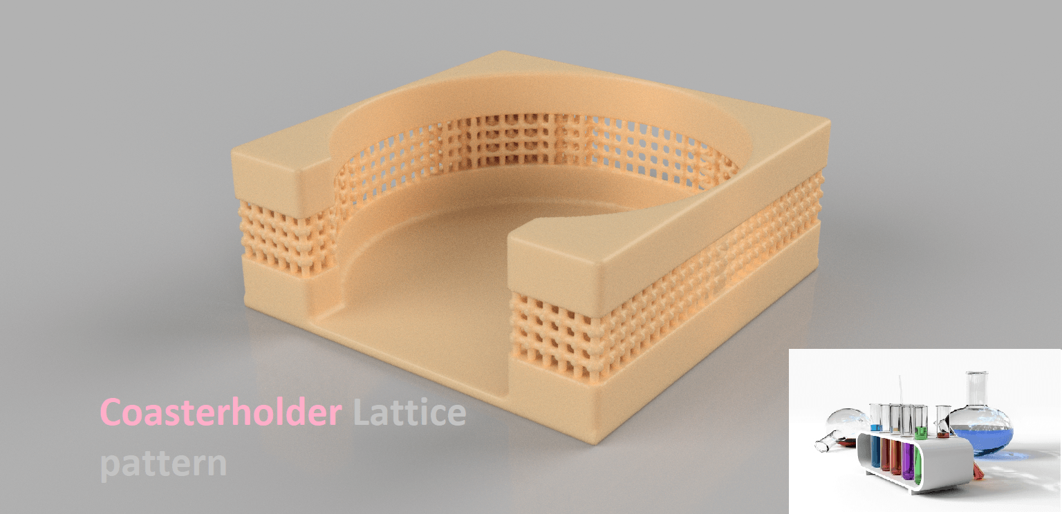v6 2.png Download free STL file Coasterholder lattice pattern • 3D printer template, IdeaLab