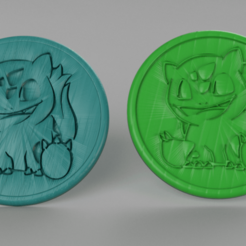 Free 3D printer model Bulbasaur coasters (pair), IdeaLab