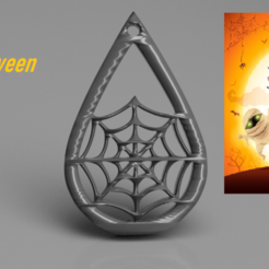 Download free 3D printer templates Halloween earrings: 'spiderweb', IdeaLab