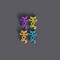 Impresiones 3D gratis El gato con el pendiente del corazón, IdeaLab