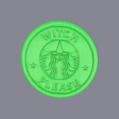 witch.png Download free STL file Drinkcoaster Starbucks: 'witch please' • 3D printing template, IdeaLab